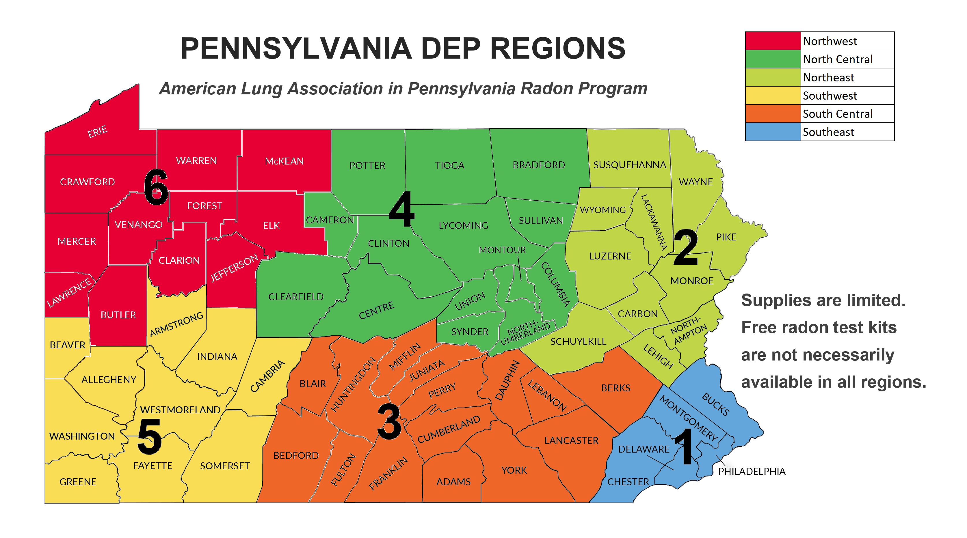 Pennsylvania Radon Target Counties American Lung Radon Kit Request - Radon-map-us